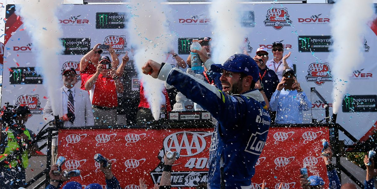 jimmie johnson wins 2017 aaa 400 drive for autism