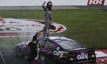 Alex Bowman celebrates